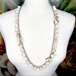 LOFT Beaded Silver Tone w/Bows Long Necklace